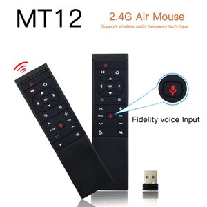 안드로이드 TV 박스 PC 프로젝터의 최신 MT12 음성 원격 제어 에어 마우스 2.4G 무선 Gryo IR 학습 미니 키보드