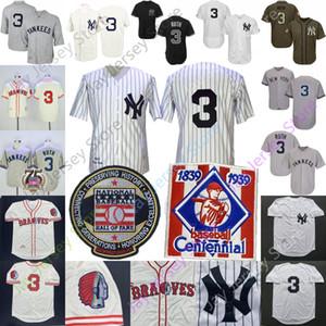 Babe Ruth Jersey 1929 Hall Of Fame 1939 Baseball Centennial 100 Creme Pinstrpe Cinzento Branco Casa Fora Men Tamanho M-3XL