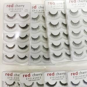 2019 Nueva Red Cherry pestañas postizas 5 pares / paquete 8 Estilos Natural Largo Maquillaje profesional Ojos grandes Alta calidad
