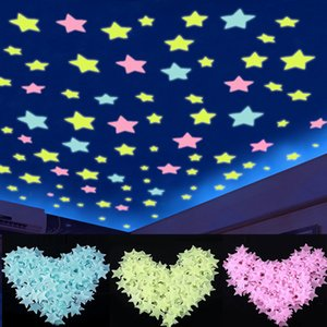Luminous Star Stickers 3cm Glow in the Dark Bedroom Sofa Fluorescent PVC Wall Stickers 100pcs pack OOA8134