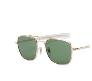 Yüksek Kalite Moda Havacılık AO Güneş Erkekler Marka Tasarımcı Güneş Gözlükleri İçin Erkek Amerikan Ordusu Askeri Optik Cam Lens óculos