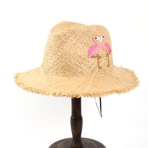 100% Ráfia Palha Mulheres Verão Floppy Aba Larga Viagem Chapéu de Sol Com Handwork Borla Bordado Pássaro Panamá Sunbonnet