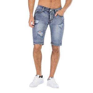 Jeans pour hommes Denim Shorts 2021 Été Outillage coréen Mouvement Mouvement Mode Hild Blue Bleu Noir Five-Point Pants