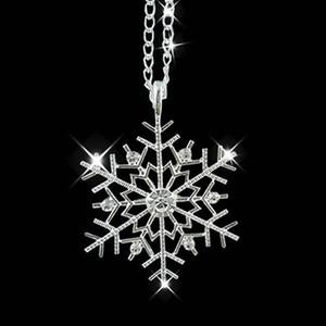 Cadeau de noël collier pendentif chaîne strass brillant congelé flocon de neige strass