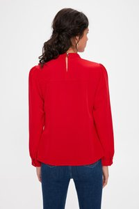 Trendyol Red Ruffle Detail Bluz TWOAW20BZ0385