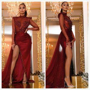 2020 Burgund Sparkly Abendkleider Perlen Mantel Abendkleider hohe Ansatz lange Ärmel Aso Ebi-Mädchen-Partei-Kleider