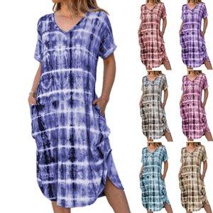 المصنعين الملابس النسائية الفاخرة الإناث زائد فساتين عادية الحجم V الرقبة