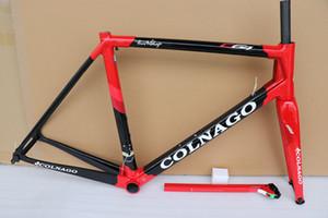 Parlak kaplama Siyah seçimi için 24 renklerle C649 renkli Colnago C64 karbon yol çerçeve bisiklet Frameset kırmızı