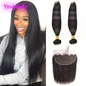 Бразильские волосы девственницы прямые 3 пакета с 13x6 кружева фронтальные Детские наращивания волос 8-30 дюймов человеческих волос утром с 13x6 Frontal