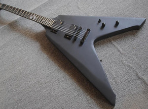 Pesado Metallic James Hetfield Vulture Matte Black Flying V guitarra elétrica acabamento acetinado, o Active EMG Pickups 9V caixa de bateria, Hardware Preto