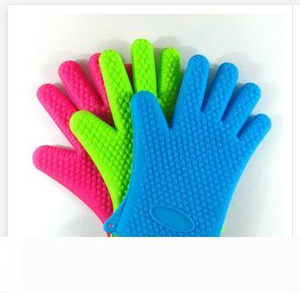 Silicone Kitchen Cooking Gloves Microwave Oven Non-slip Mitt Heat Resistant Silicone Home Gloves Cooking Baking BBQ gloves Holder R1439
