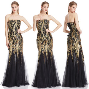 Angel-Fashion Golden Secion Party Parting Brapless Splicing Tulle заглядываясь на женщин Длинное вечернее платье Bodycon 101