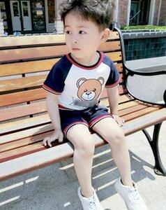 Baby girl спортивная одежда Мальчик с коротким рукавом рубашки Брюки Наборы детей 2 ШТ. Детей Милый Мультфильм медведь наряды Детская Одежда платье