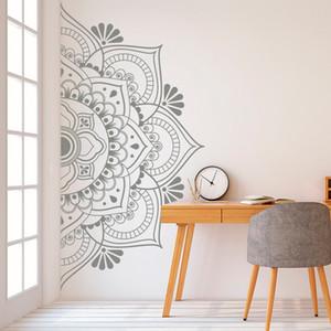 Yarım Duvar Mandala Mandala Dekor Dekor Ev için Çıkarılabilir Vinil Sticker Meditasyon için Yoga Duvar Sanatı Oturma Odası Yatak Odası Mural