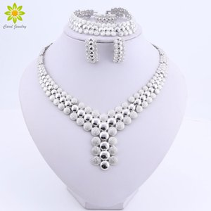 Boda de Nigeria perlas africanas joyería joyería de traje determinada africana mujeres conjunto Dubai collar plateado Silver impone MX200528