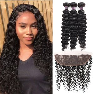 Human Hair Bundles With Closure Wholesale Cheap 8A Brazilian Hair 3Bundles With 13*4 Lace Frontal Deep Wave Virgin Hair Extensions