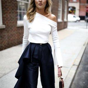 New White Off -Shirt -Shirts Women Shoulder Slash Neck Sizes Top Split Long Sleeve Pretty T T Korean Clothes Large Sexy Female Pnwoc