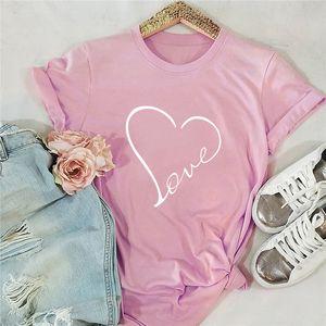 Plus Size S-5XL New Love Heart Imprimer T-shirt Chemise Femme 100% coton O manches courtes d'été TShirt Hauts drôle T-shirts