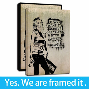 Banksy Street Women Graffiti Art Canvas Print Wall Art Picture Oil Painting Posters Home Decor - Ready To Hang - Framed