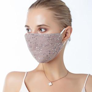 BlingBling пришивание Ice Шелковых маски против пыли маски для лица Маска РМ2,5 Открытого Рот моющегося многоразовых Paillette лица