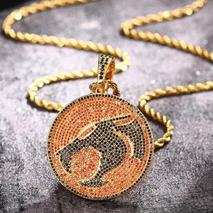 Hotsale Hip Hop Mens Necklace Gold Plated CZ Ice Out Dinosaur Pendant Necklace with 24inch Rope Chain for Men Punk Jewelry Gift