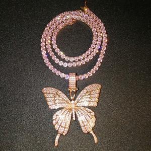 Joyería fina de oro rosa Micro Pave rosa cz cúbicos circón diamante Cadena Enlace cubana joyería del collar de la mariposa de tenis de Hip Hop