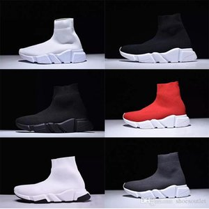 Luxury Paris Designer Sock Shoes Speed Trainer Stretch Knit Mid Black White Brand Fashion Top Breathable Casual Shoes For Men Women Size 46