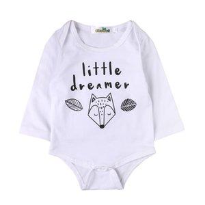 الأزياء الرضع القطن bodysuit الطفل بوي الحيوان وبذلة طفلة فوكس الملابس طفل الكرتون طباعة الزي