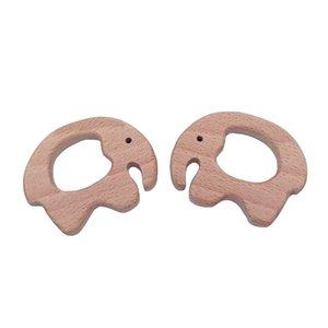 200pcs Beech Wooden Elephant shape Teether Teething Accessories Kids Teething Pendant Nursing Holder Infant Teething Toy Accessories