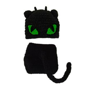 Костюм новорожденного черного кота, вязаная вязаная крючком вязаная крючком рукавица для новорожденного мальчика, шапочка и подгузник, детский костюм на Хэллоуин
