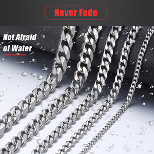 Hip Hop Mens Necklace Chain Stainless Steel Silver 2018 Necklace for Men Jewelry Gift Wholesale 3 5 7 9 11mm