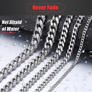 Cadena Davielsee para hombre collar de plata al por mayor de acero inoxidable 2018 Collar Hombres regalo de la joyería 3 5 7 9 11 mm