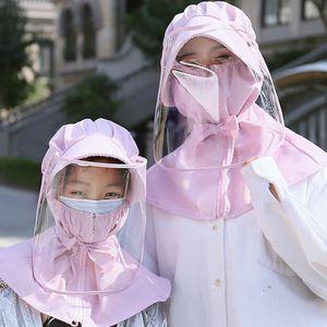 Diseñador de la cara del sombrero del protector anti-gota máscara de la cara del casquillo de protección solar de la sombrilla verano Hijos Adultos extraíble sombrero protector