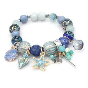 -Pulsera al por mayor de joyería de diseño de lujo de las mujeres pulseras cuentas de piedras naturales encanto seriales mar Pulsera heló hacia fuera la pulsera NE983-1