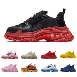 Balenciaga Da X designer de Paris 17FW Triple S adiciona um claro bolha Midsole Sneakers mens mulheres Neon luxo aumentando Marca Men Casual pai Shoes