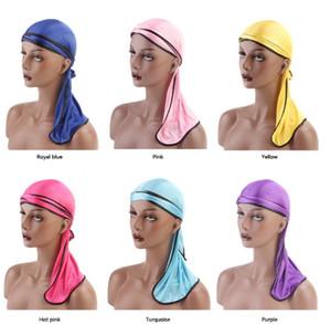 Designer Silky Durag Silk Hair Bonnets Skull Cappello da pirata con cappelli a coda lunga per uomo adulto