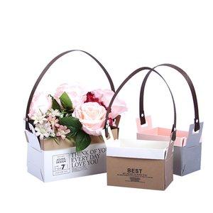 Kraft Kağıt Çiçekçi Torba Çiçek Bez Kutusu Su geçirmez Buket Çiçekçi Hediyelik Çanta Düğün Sevgililer Günü Çiçek Kutusu Katlanmış