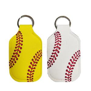 Neoprene Cover Baseball Softball Keychains Chapstick Holder RTS for Hand Sanitizer Bottle Gel Holder Sleeve Key Chain Ring pendent