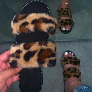 Leopard Fur Slippers Home Wild Hair Slippers Pink Warm Sandals Female 2020 New Streetwear Flip Flop Flat with Interior Slippers Y200706