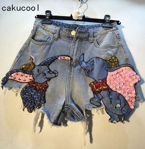 Cakucool New Summer Shorts in denim Heavy Beading Elefante Shiny Chic Shorts Fori strappati Empire Slim a vita alta Donna