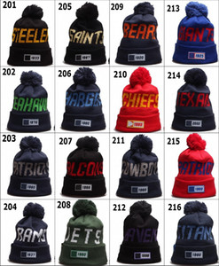 Wholesale 100th Anniversary 2019 New Sideline Beanies Hats American Football 32 teams Sport Knit Caps Mens Winter Skullies Mixed Order