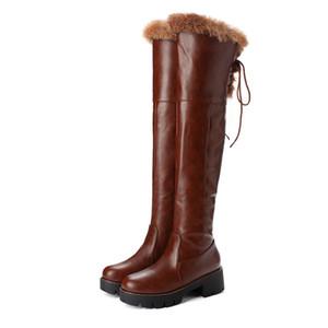 stivali di vendita-gh Hot PU bianco delle donne di formato di lusso della moda progettista del cuoio stivali da 33 a 42 43