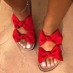 Bow Leopard Donne Slipper Summer Open Toe piattaforma scorrevole dame di luce della cavità di modo Slip On sandali Scarpe Donna