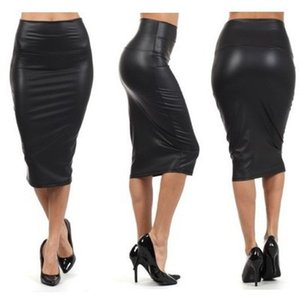 Europe and the United States OL Asian light imitation leather high waist hip and knee skirt