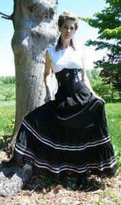 Оптово-Мода хлопок Длина до пола бальное платье Доставка Длинные юбки Викторианский Цыганская юбка