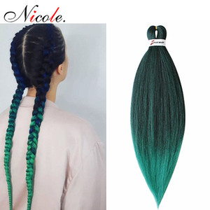 "Nicole Pre Stretched Straight Crochet Hair Easy Jumbo Braids Ombre 내열성 합성 섬유 머리카락 확장 26 ""무료 배송"