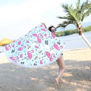 XC USHIO 2019 Новый Стиль Мода Flamingo 450G Круглый пляжное полотенце с кисточки микрофибры 150см Пикник Одеяло Мат Гобелен Y200429