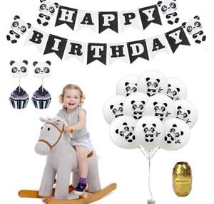 Mutlu Doğum Günü Balon Seti Panda Tema Parti Dekorasyon Afiş ile Set Kek Toppers Panda Baskılı Balon
