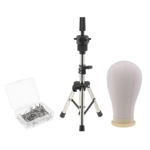 Cork Canvas Block Head Mannequin Head with Metal Adjustable Tripod Wig Stand for Wigs Making with 100pcs 38MM T Pins