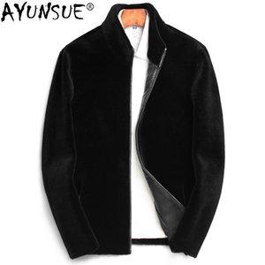 AYUNSUE 2019 Yeni Erkekler Kürk Gerçek Koyun Kırpma Yün Coat Adam Ceket Sonbahar Kış Artı boyutu Gerçek Deri ceketler KJ827